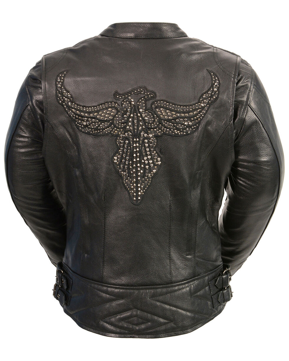 Milwaukee Leather Women's Black Conceal Carry Embroidered Phoenix Jacket , Black, hi-res