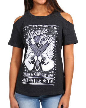 Shyanne® Women's Music City Cold Shoulder T-Shirt, Charcoal, hi-res