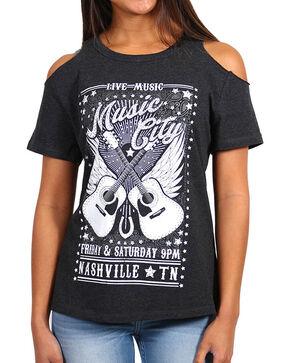 Shyanne® Women's Music City Cold Shoulder T-Shirt, Charcoal, hi-res