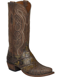 Lucchese Chocolate Giant Gator Van Cowboy Boots - Square Toe, , hi-res
