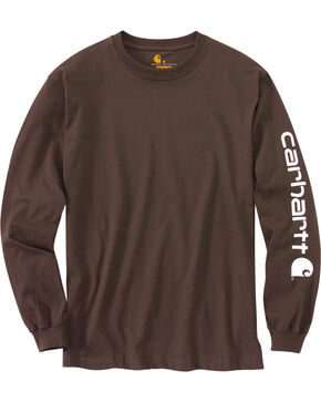 Carhartt Signature Logo Sleeve Knit T-Shirt, Dark Brown, hi-res
