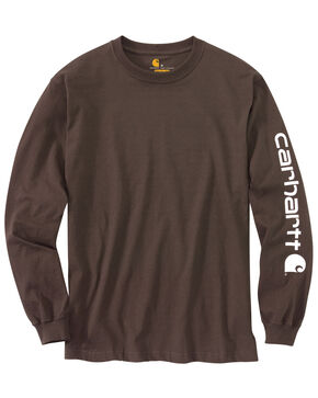 Carhartt Men's Long Sleeve Graphic T-Shirt, Dark Brown, hi-res