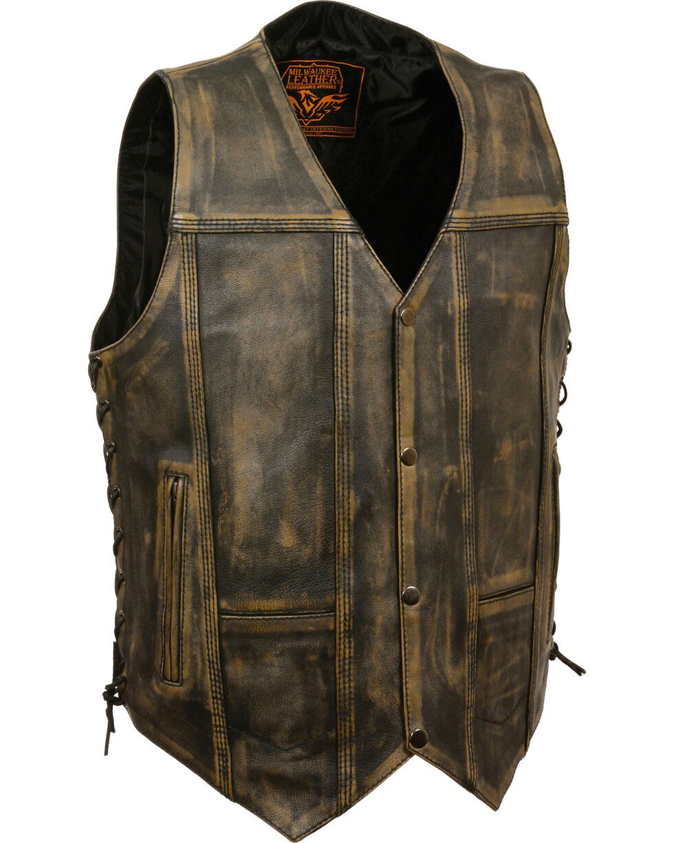 Milwaukee Leather Men's Brown Distressed 10 Pocket Vest - 4X, Black/tan, hi-res