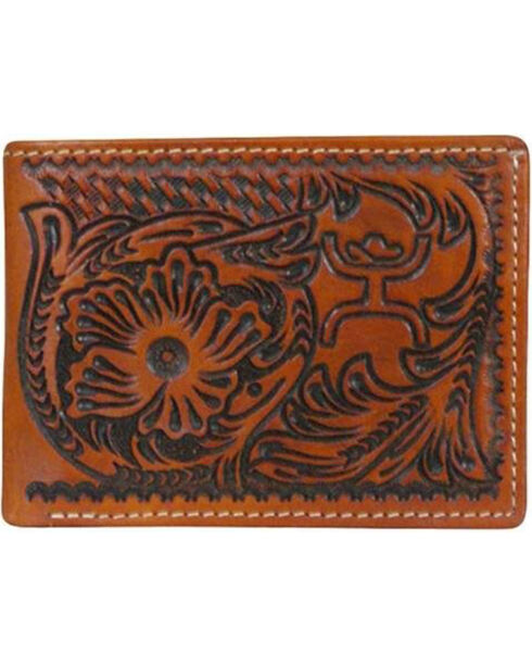 HOOey Men's Western Embossed Leather Wallet, Brown, hi-res