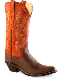 Old West Women's Brown and Orange Western Boots - Snip Toe  , , hi-res