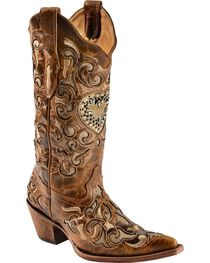 Corral Women's Sand Maipo Crystal Heart Western Boots, , hi-res
