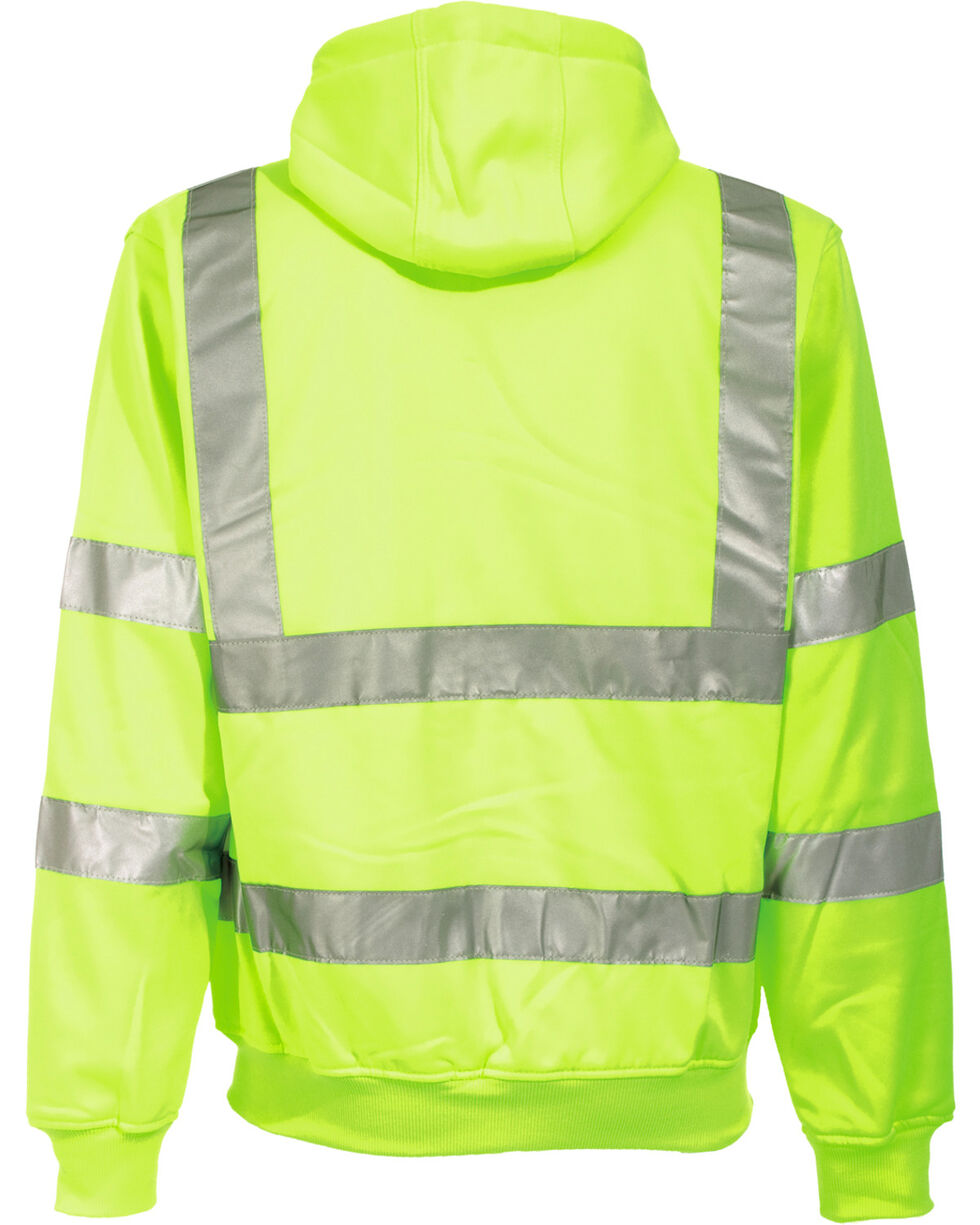 Berne Yellow Hi-Visibility Lined Hooded Jacket - Tall 2XT, Yellow, hi-res