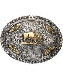 AndWest Men's Oval Brass Buffalo Belt Buckle, , hi-res