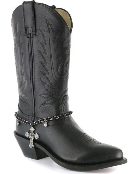 Shyanne® Women's Cross Boot Bracelet, Black, hi-res