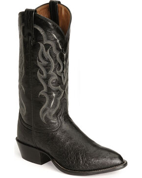 Tony Lama Men's Smooth Ostrich Exotic Western Boots, Black, hi-res