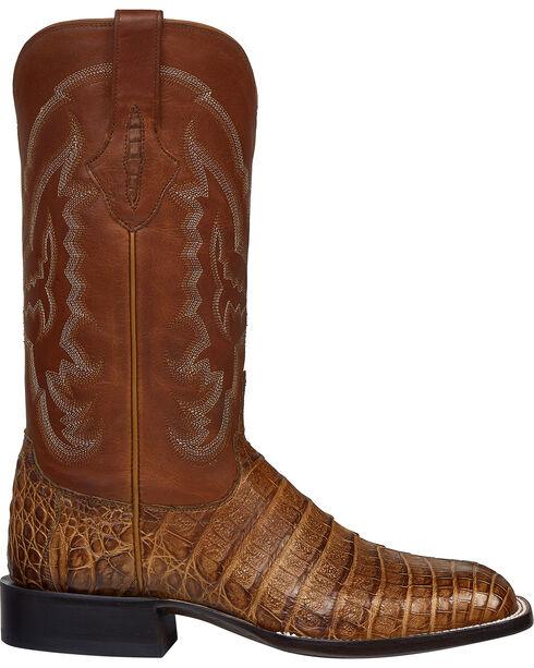 Lucchese Tan Sean Belly Caiman Cowboy Boots - Square Toe , Tan, hi-res
