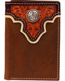 Ariat Men's Tri-Fold Concho Leather Wallet, , hi-res