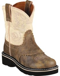 Ariat Fatbaby Youth Girls' Pink & Brown Bomber Boots - Round Toe, , hi-res