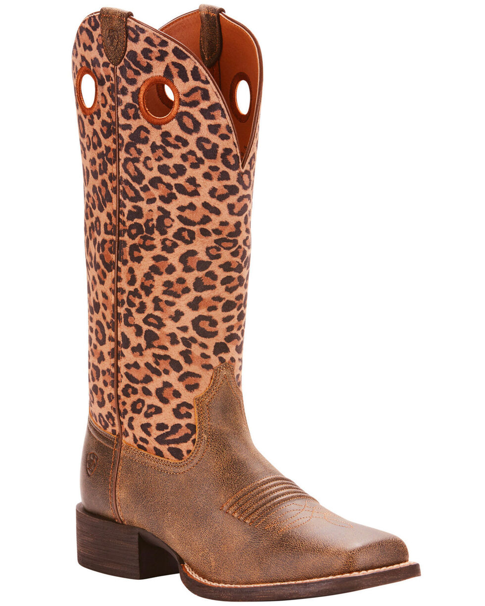 Ariat Women's Brown Leopard Print Round Up Ryder Boots - Square Toe , Brown, hi-res
