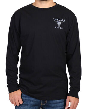 Cody James® Men's Skull Ranch Long Sleeve Tee, Black, hi-res