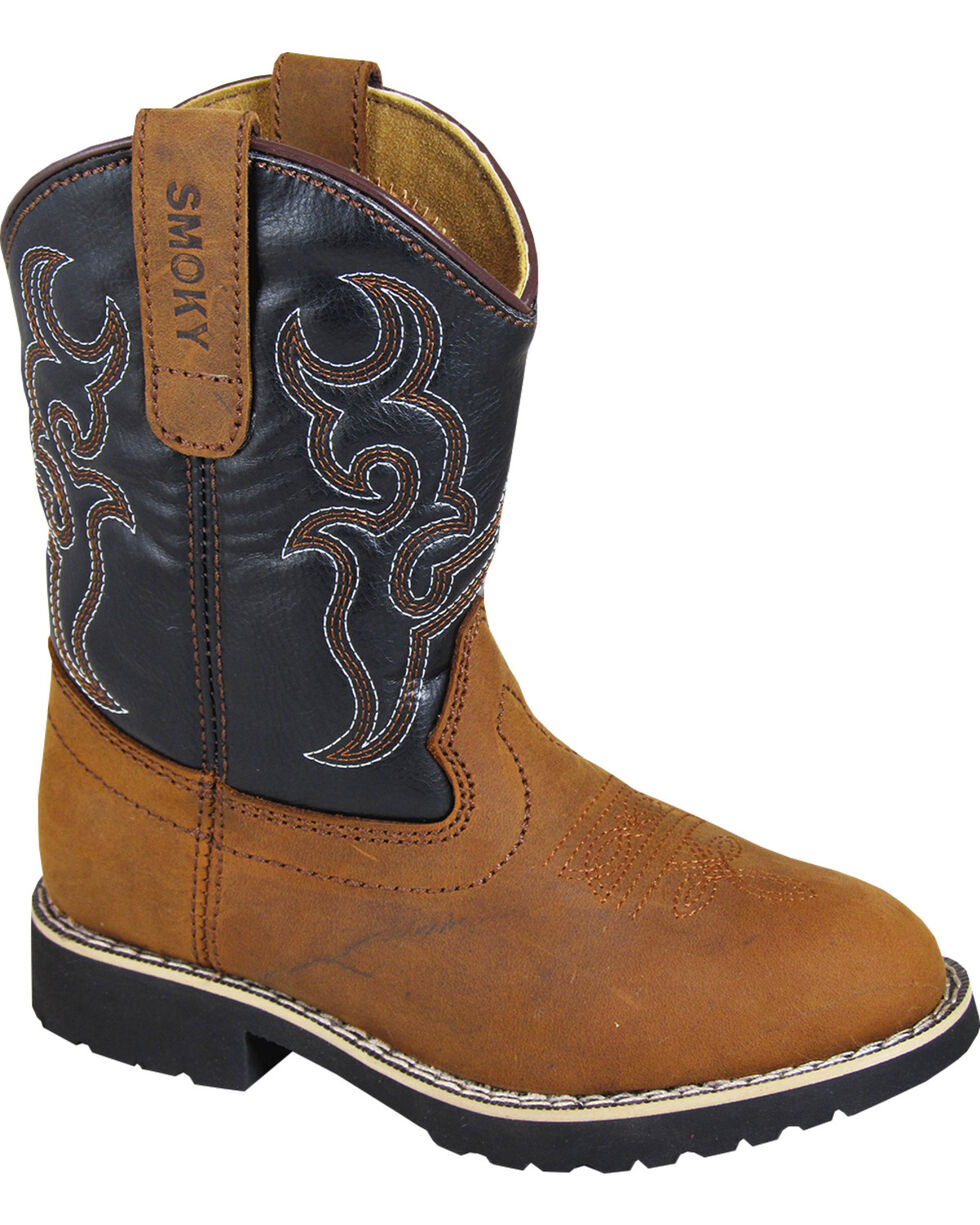 Smoky Mountains Boys' Randy Western Boots - Round Toe, Brown, hi-res