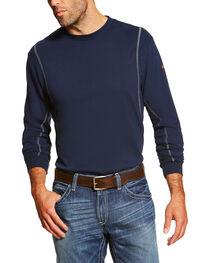 Ariat Men's Navy FR Crew Neck Long Sleeve Shirt - Tall, , hi-res