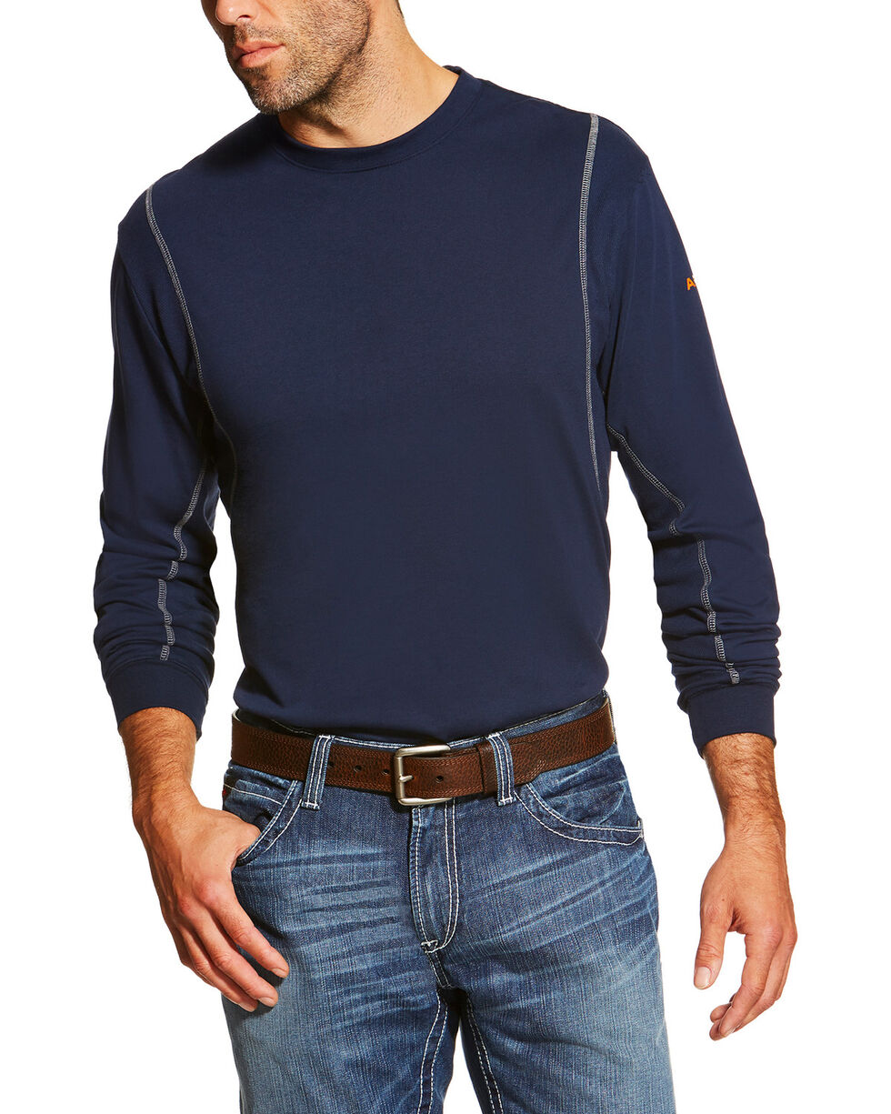 Ariat Men's Navy FR Crew Neck Long Sleeve Shirt - Tall, Navy, hi-res