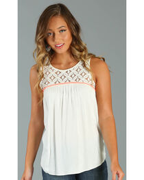 Wrangler Women's Sleeveless Top with Crochet Piecing, , hi-res