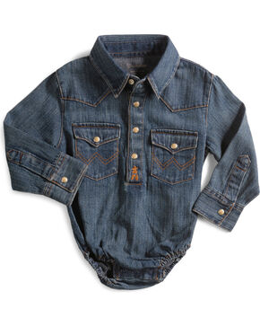 Wrangler Infant Long Sleeve Denim Western Onesie, Denim, hi-res