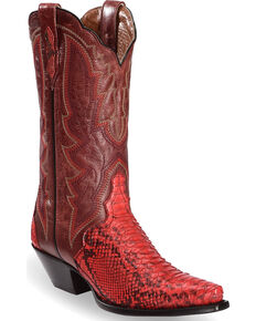 Dan Post Womens Red Back Cut Python Triad Cowgirl Boots - Snip Toe , Red,