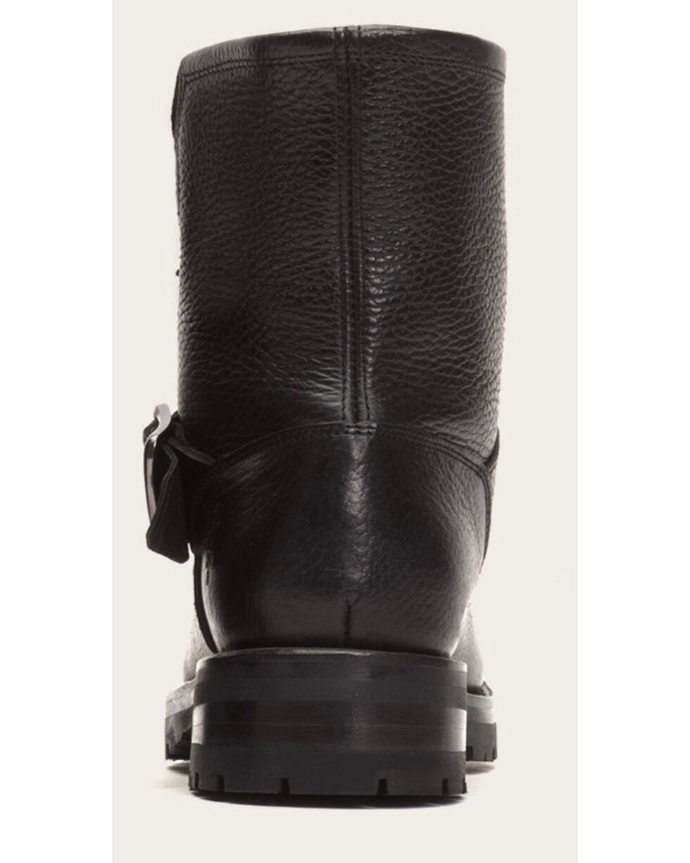 Frye Women's Black Natalie Short Engineer Lug Shearling Boots, Black, hi-res