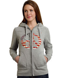 Roper Women's Americana Peace Zip-Up Hoodie, , hi-res