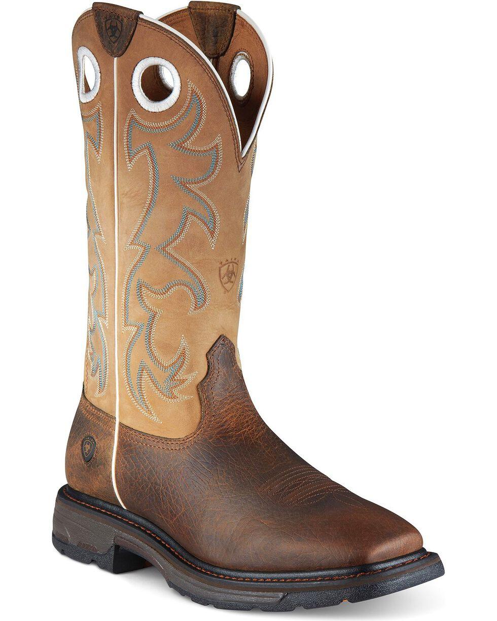 Ariat Men's Steel Toe Workhog Boots, Earth, hi-res