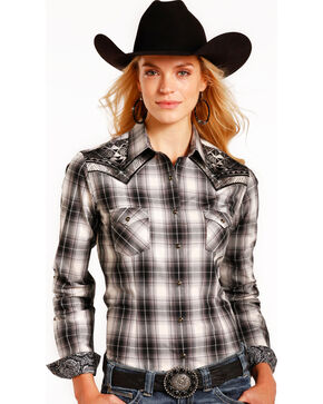 Rough Stock by Panhandle Women's Black Prospect Plaid Shirt , Charcoal, hi-res