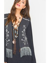 Rock & Roll Cowgirl Women's Grey Embroidered Rayon Vest , , hi-res