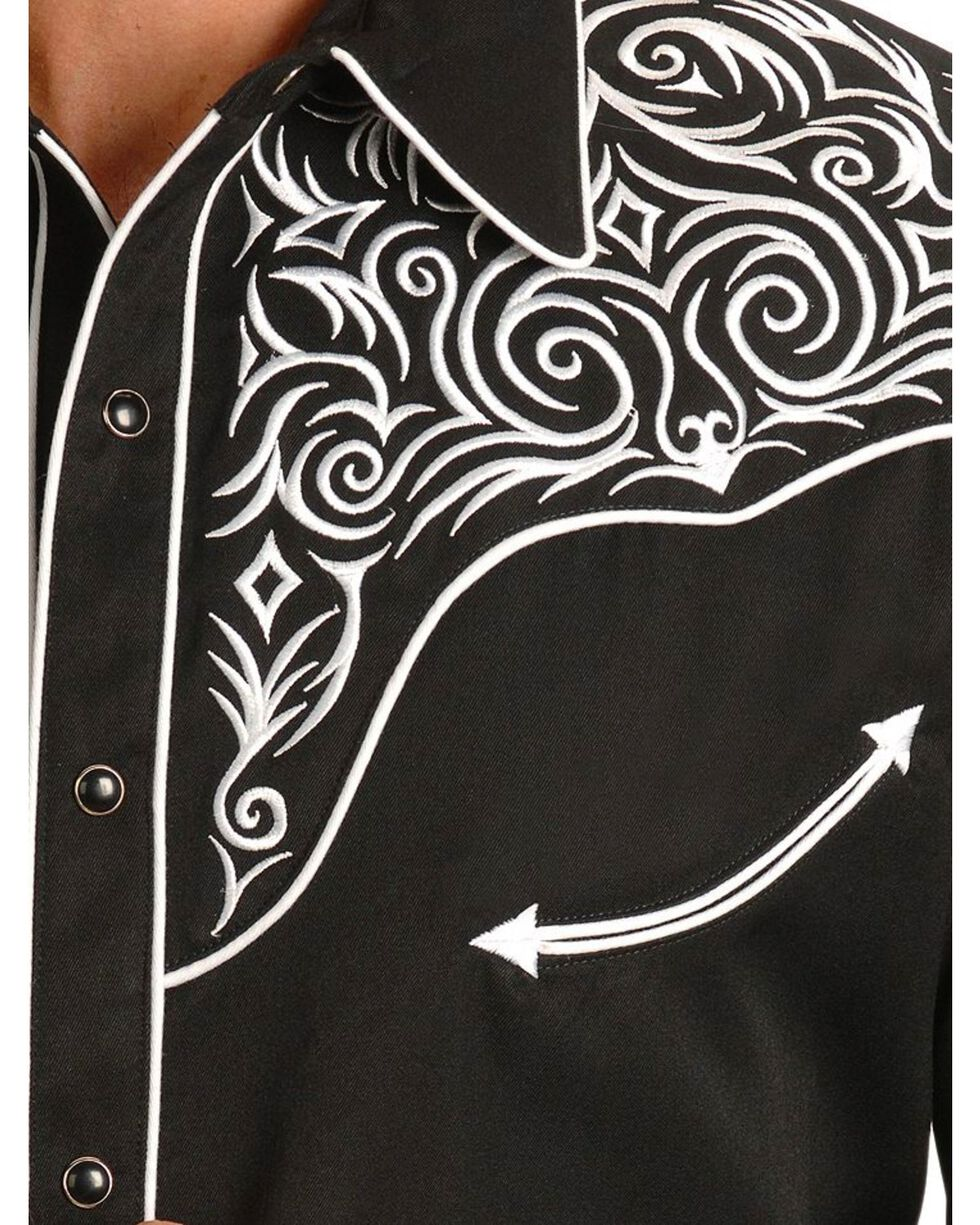 Scully Fancy Full Stitched Retro Western Shirt - Big & Tall, Black, hi-res