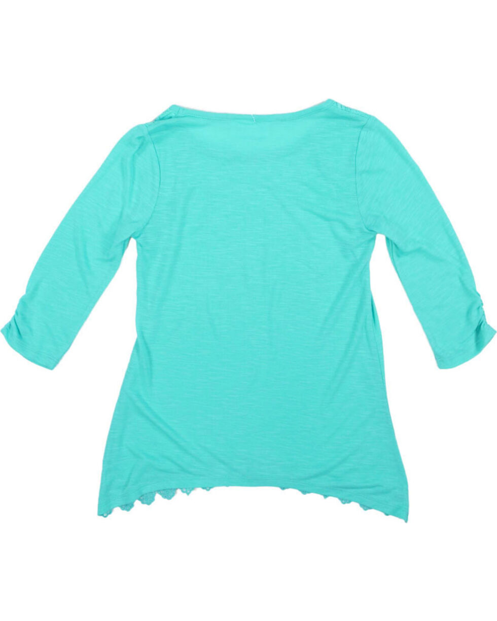 Shyanne Girls' Lace Accent Long Sleeve Shirt with Scarf, , hi-res