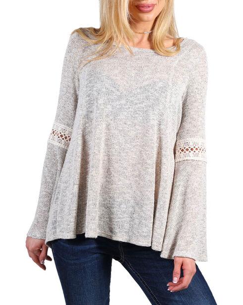 Moa Moa Women's Tieback Crochet Lace Long Sleeve Top, Grey, hi-res