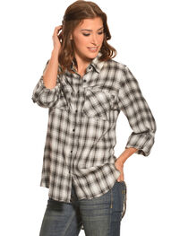 New Direction Women's Black & White Plaid Western Shirt, , hi-res