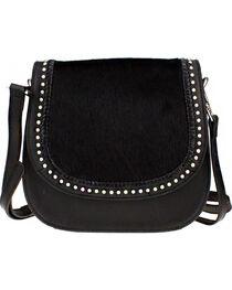 Montana West Delila Saddle Bag 100% Genuine Leather Hair-On Hide Collection in Black, , hi-res