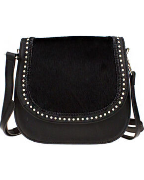 Montana West Delila Saddle Bag 100% Genuine Leather Hair-On Hide Collection in Black, Black, hi-res