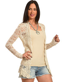 Young Essence Women's Beige Long Sleeve Lace Cardigan , , hi-res