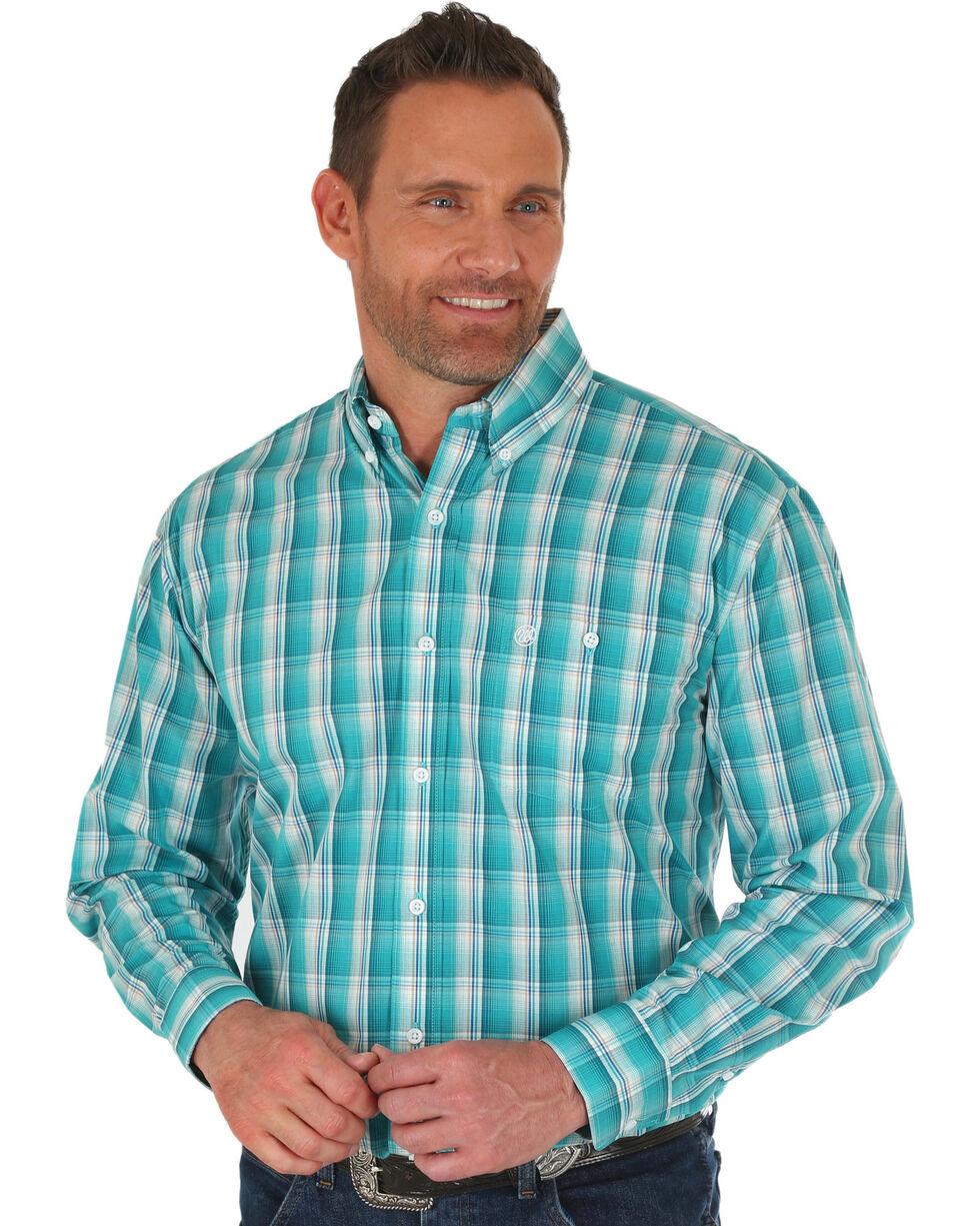 Wrangler Men's Turquoise Classic Plaid Long Sleeve Shirt , Turquoise, hi-res