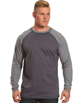 Wrangler Men's Grey FR Flame Resistant Knit Baseball Tee, Grey, hi-res