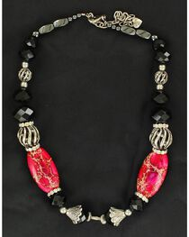 Silver-Tone, Pink & Black Beaded Necklace, , hi-res