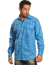 Cowboy Hardware Men's Blue Range Paisley Print Shirt , , hi-res