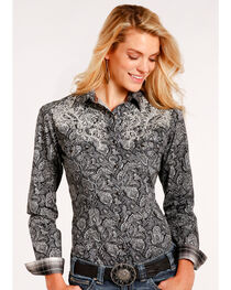 Roughstock by Panhandle Women's Black Vintage Print Shirt , , hi-res