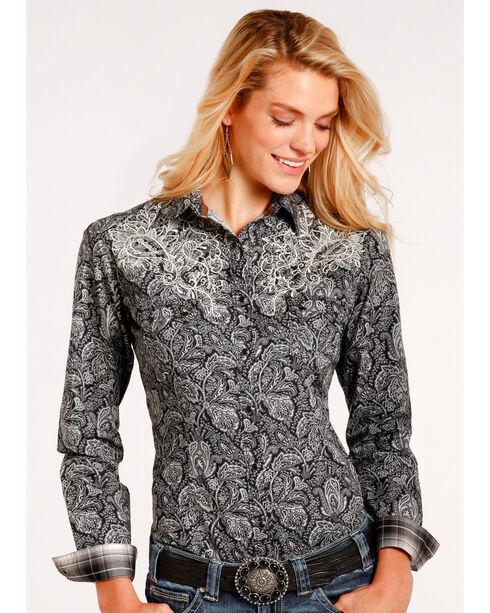 Roughstock by Panhandle Women's Black Vintage Print Shirt , Black, hi-res