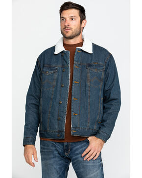 Wrangler Men's Sherpa Lined Stonewash Denim Jacket, Denim, hi-res