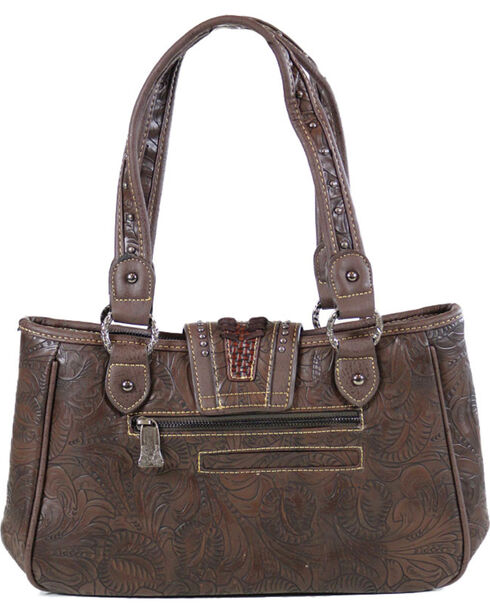 Trinity Ranch Women's Tooled Design Collection Handbag, Taupe, hi-res