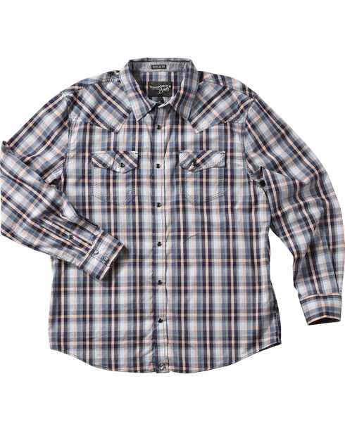 Moonshine Spirit® Men's Plaid Western Long Sleeve Shirt, Blue, hi-res