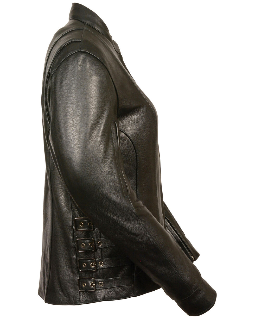 Milwaukee Leather Women's Side Buckle Racer Style Jacket - 4X, Black, hi-res