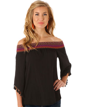 Wrangler Women's Off The Shoulder Top, Black, hi-res