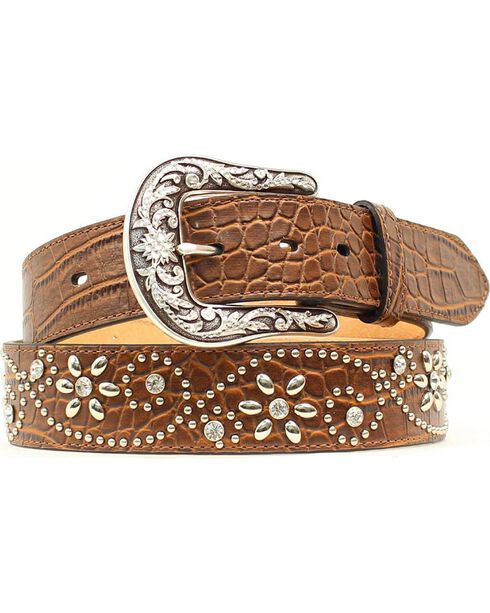 Ariat Women's Floral Stud Belt, Brown, hi-res