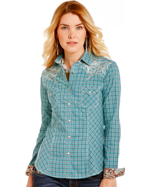 Rough Stock by Panhandle Women's Antique Plaid Embroidered Snap Shirt, Turquoise, hi-res